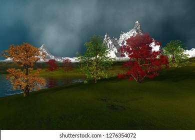 Next to the lake, 3d rendering, an autumn landscape, beautiful trees with green yellow and red leaves, grass on the ground, snowy mountains, and a cloudy sky.