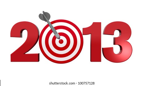 Next New Year 2013. Number with red and white target, one dart hits the center of the target - 3d render illustration - success in business concept.