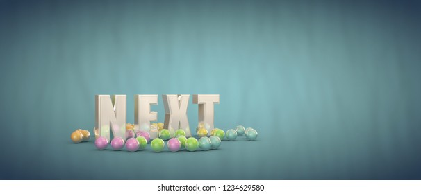 next sign isolated on blue background 3d illustration