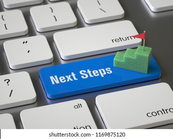 Next steps key on the keyboard, 3d rendering,conceptual image