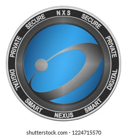 Nexus (NXS) coin isolated on white background; nexus cryptocurrency