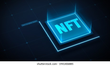 NFT art concept. Non fungible tokens. Crypto art. Blockchain tech background. Technology background with blue neon icon NFT. 3d render. 3d illustration.