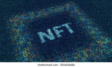 Devise NFT. Animation. Cryptodevise du futur dans le cyberespace. Des particules électroniques brillantes de l'inscription NFT sur le champ de cyber-néon