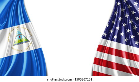 Nicaragua and American flag of silk with copyspace for your text or images and white background -3D illustration