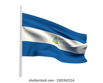Nicaragua flag floating in the wind with a White sky background. 3D illustration.