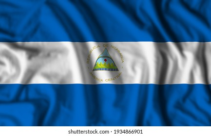 Nicaragua flag realistic waving for design on independence day or other state holiday. 3D Illustration