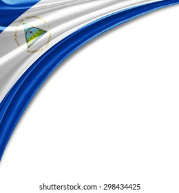 Nicaragua  flag of silk with copyspace for your text or images and white background