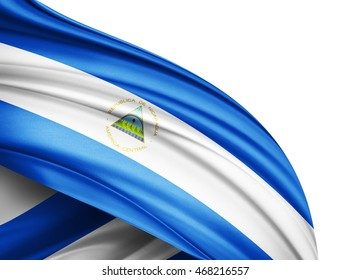 Nicaragua flag of silk with copyspace for your text or images and white background -3D illustration