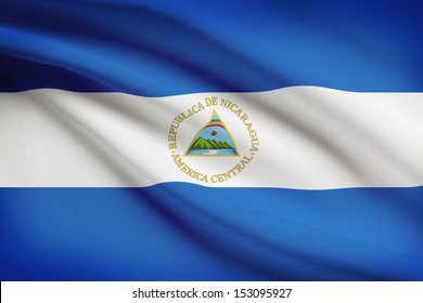 Nicaraguan flag blowing in the wind. Part of a series.