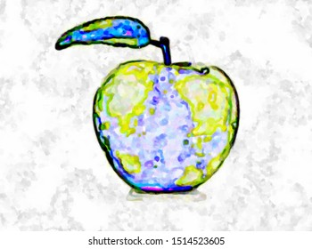 Nice apple logo. The illustration is drawn in a computer program. The illustration can be used as a brand name, trade name, company name.