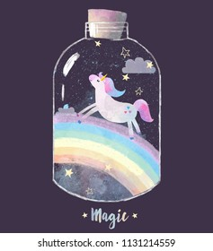 A nice baby illustration, a unicorn jumping in a jar with a rainbow and stars, clouds and a starry sky. Watercolor style. Violet color