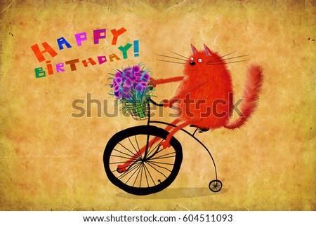 Nice Birthday Card Funny Red Cat Stock Illustration 604511093