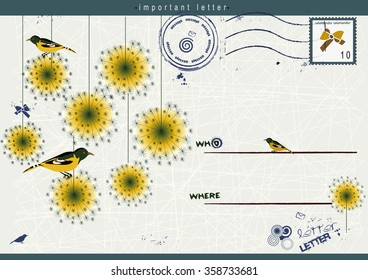 nice card with birds and flowers for your beautiful message