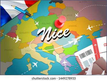 Nice city travel and tourism destination concept. France flag and Nice city on map. France travel concept map background. Tickets Planes and flights to Nice holidays French