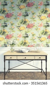 nice flower wallpaper and the table 3d Rendering