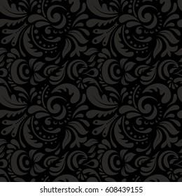 Nice hand-drawn illustration. Elegant gray seamless pattern with doodle and Mandala elements.