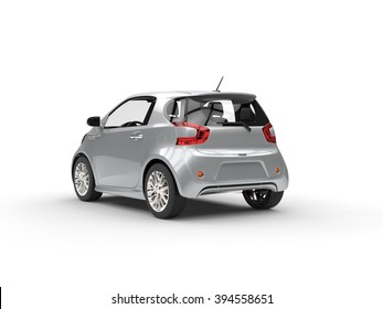 Nice Modern Silver Compact Car - Back View