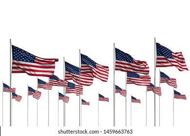nice national holiday flag 3d illustration - many USA flags in a row isolated on white with empty place for your text
