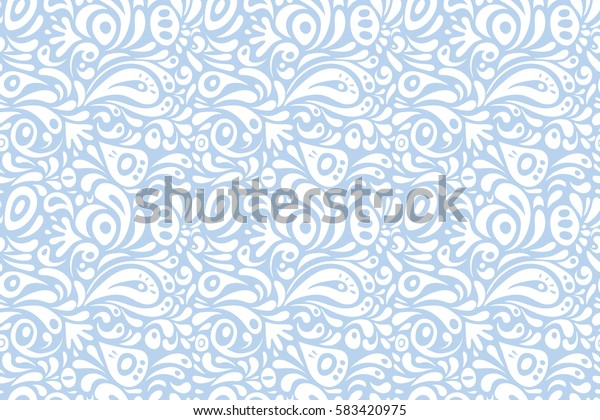 Nice neutral and white hand-drawn seamless raster illustration. Elegant seamless pattern with floral and Mandala elements.