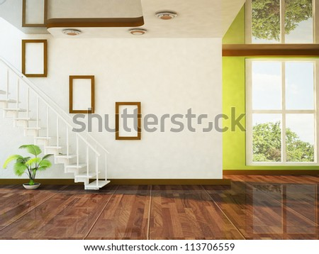 A Nice Room With A Big Window And The Stairs