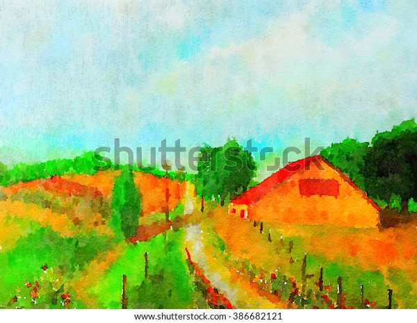 Nice Small Simple Watercolor Painting Country Stock