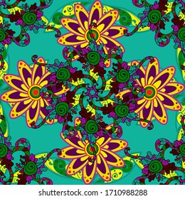 In nice textile style on purple, green and blue colors. Floral seamless pattern with watercolor flowers.