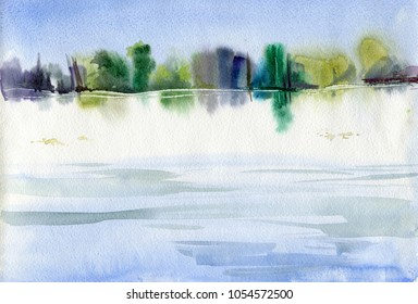 Nice watercolor landscape with river and riverside. Reflection of trees in the water.