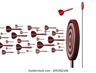 Niche market concept as business targeted marketing and specializing in a smaller opportunity as an individual dart going a different way as a metaphor for strategic planning as a 3D illustration.