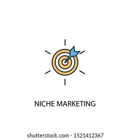 Niche Marketing concept 2 colored line icon. Simple yellow and blue element illustration. Niche Marketing concept outline symbol design