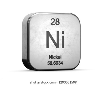 Nickel element from the periodic table series icons. Metallic icon 3D rendered on white background