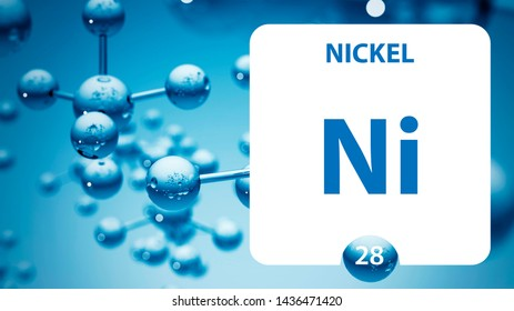Nickel Ni, chemical element sign. 3D rendering isolated on white background. Nickel chemical 28 element for science experiments in classroom science camp