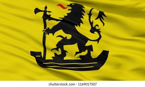 Nieuwpoort City Flag, Country Belgium, Closeup View, 3D Rendering