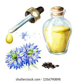 Nigella sativa, Roman coriander, black cumin, black sesame, blackseed, black caraway,  Bunium persicum oil set. Watercolor hand drawn illustration, isolated on white background