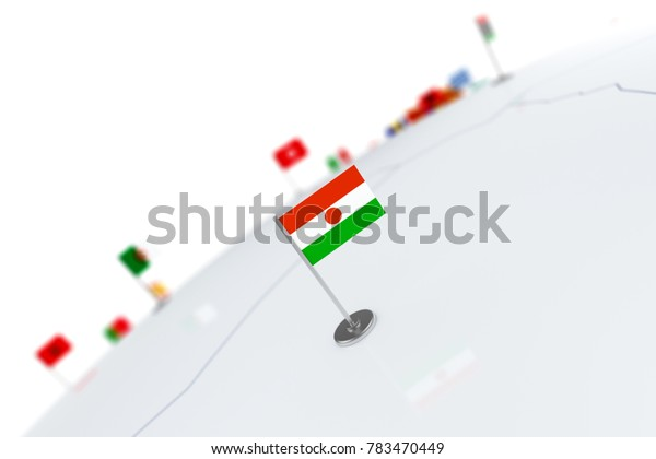Niger flag. Country flag with chrome flagpole on the world map with neighbors countries borders. 3d illustration rendering flag