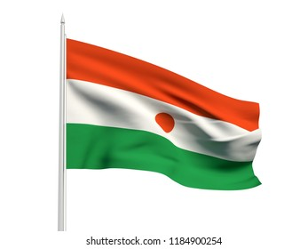 Niger flag floating in the wind with a White sky background. 3D illustration.