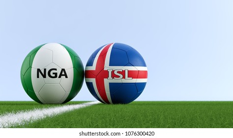 Nigera vs. Iceland Soccer Match - Soccer balls in Nigeria and Iceland national colors on a soccer field. Copy space on the right side - 3D Rendering