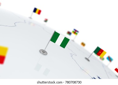 Nigeria flag. Country flag with chrome flagpole on the world map with neighbors countries borders. 3d illustration rendering flag