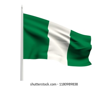 Nigeria flag floating in the wind with a White sky background. 3D illustration.