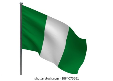 Nigeria flag on pole. Metal flagpole. National flag of Nigeria 3D illustration isolated on white