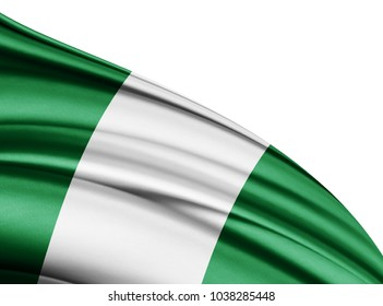 Nigeria flag of silk with copyspace for your text or images and white background-3D illustration