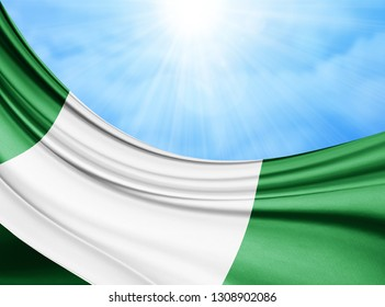 Nigeria  flag of silk with copyspace for your text or images and sky background-3D illustration