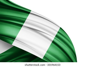 Nigeria  flag of silk with copyspace for your text or images and white background