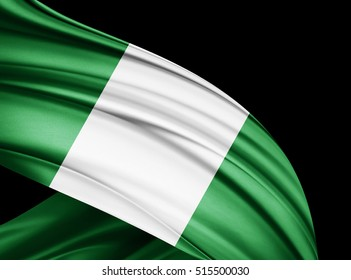 Nigeria  flag of silk with copyspace for your text or images and black  background -3D illustration
