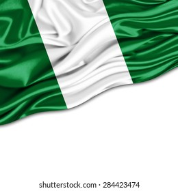 Nigeria  flag of silk and white background