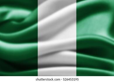Nigeria flag of silk-3D illustration