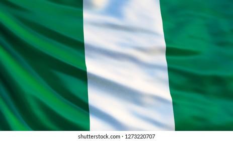 Nigeria flag. Waving flag of Nigeria 3d illustration. Abuja