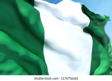 Nigeria flag waving on a high quality blue sky, 3d rendering