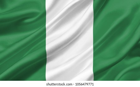 Nigeria flag waving with the wind, 3D illustration.
