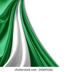 Nigeria flag and white background