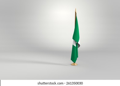 Nigeria isolated flag on a brown and golden wooden mast 3d illustration